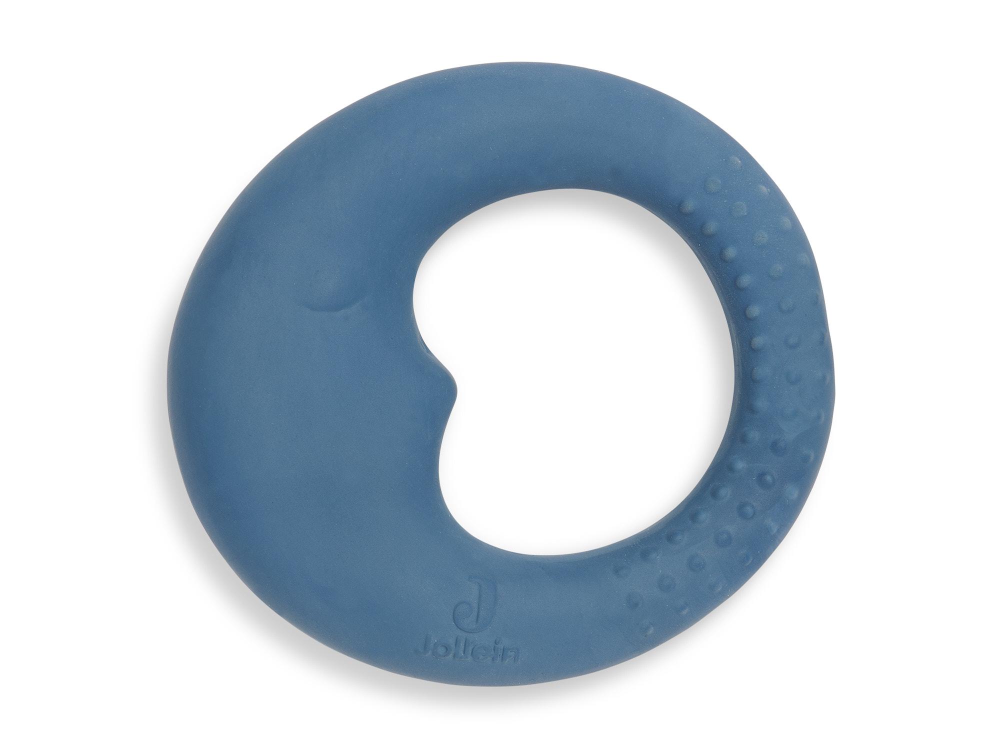 Beißring aus Naturkautschuk Mond blau