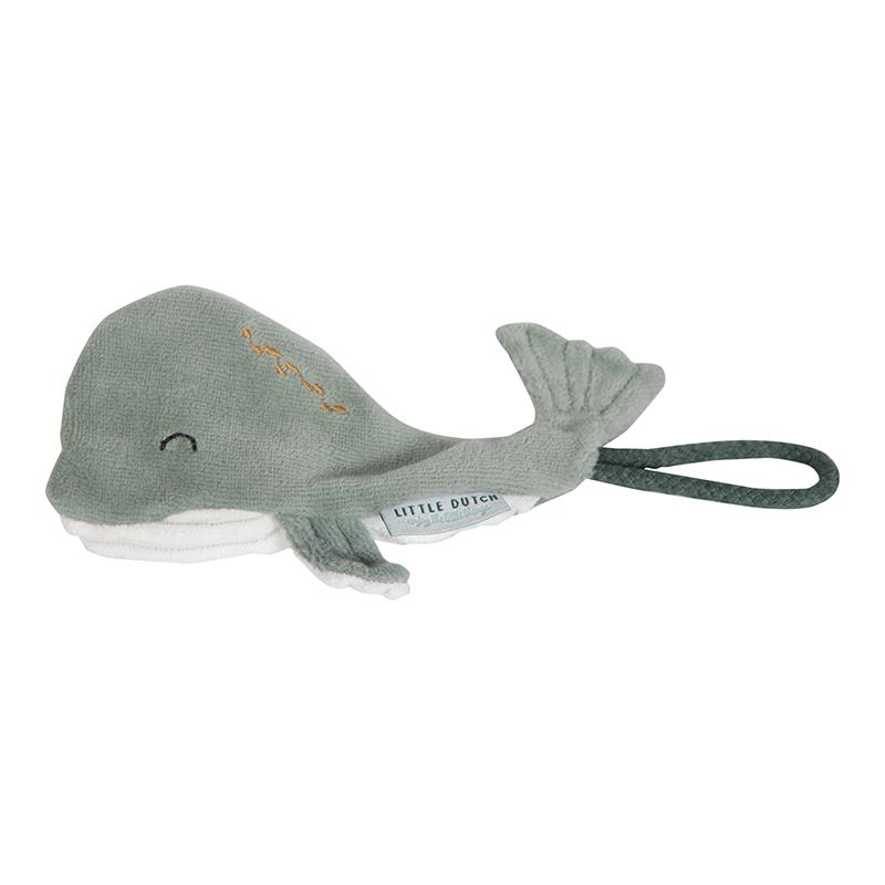 Schnullertuch mit Clip Walfisch Ocean mint