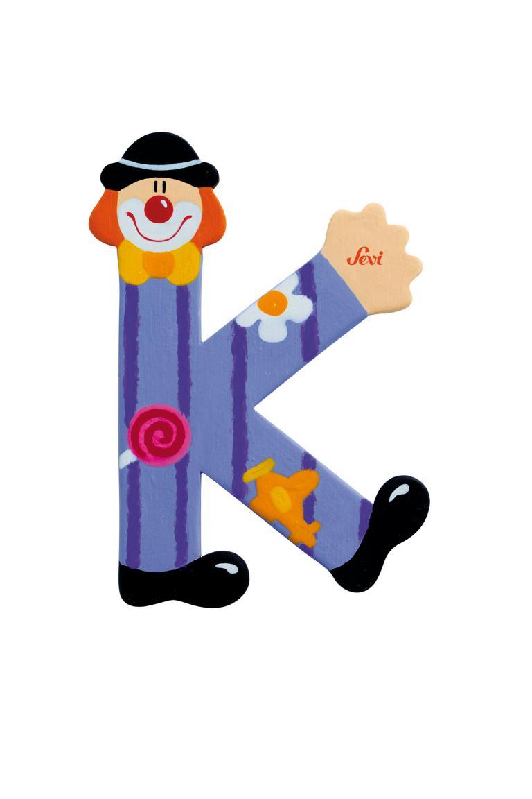 Holzbuchstaben K Clown