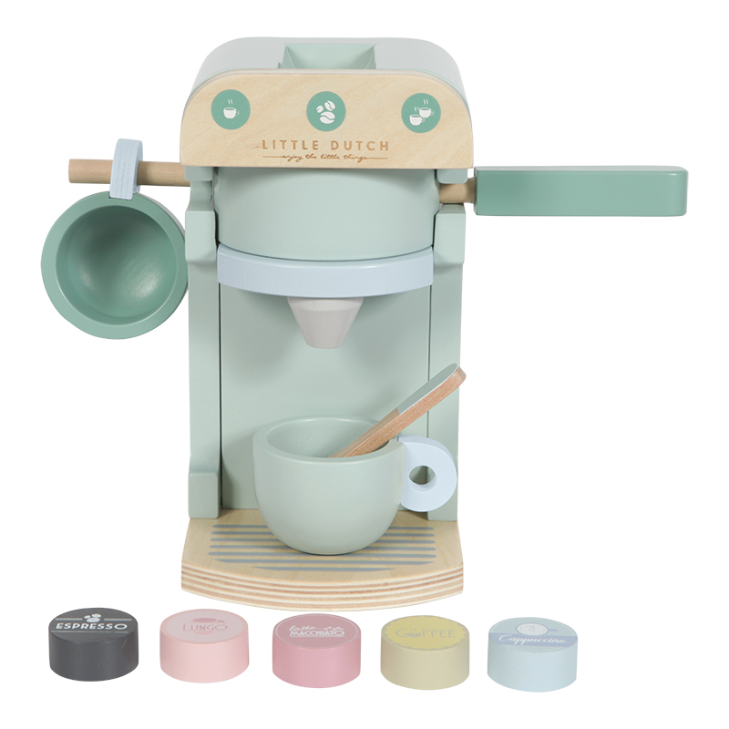 Holz Kaffeemaschine Set mint