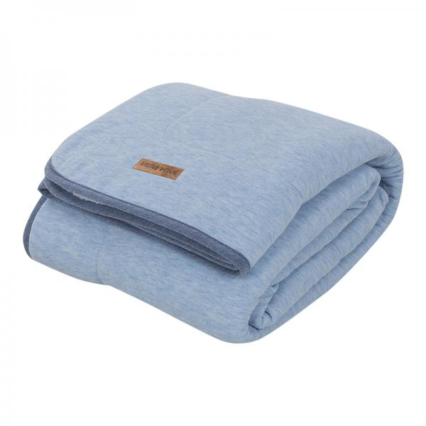 Babydecke mit Teddyfell Jersey Melange blau 70x100 cm