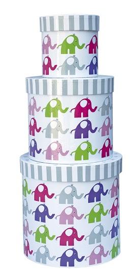 Pappboxen rund Elefanten 3er Set rosa