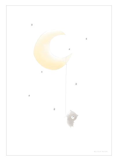 Poster doppelseitig bedruckt Bär Mond A3
