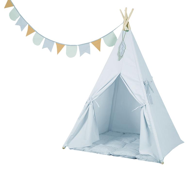 Spielzelt Tipi Zelt aus Stoff inkl. Matte und Wimpelkette blau