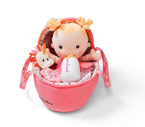 Stoffpuppe Baby Louise mit Tragetasche und Zubehör