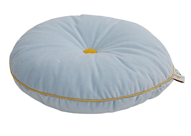rundes Samt Kissen mit Knopf hellblau gelb ø35 cm