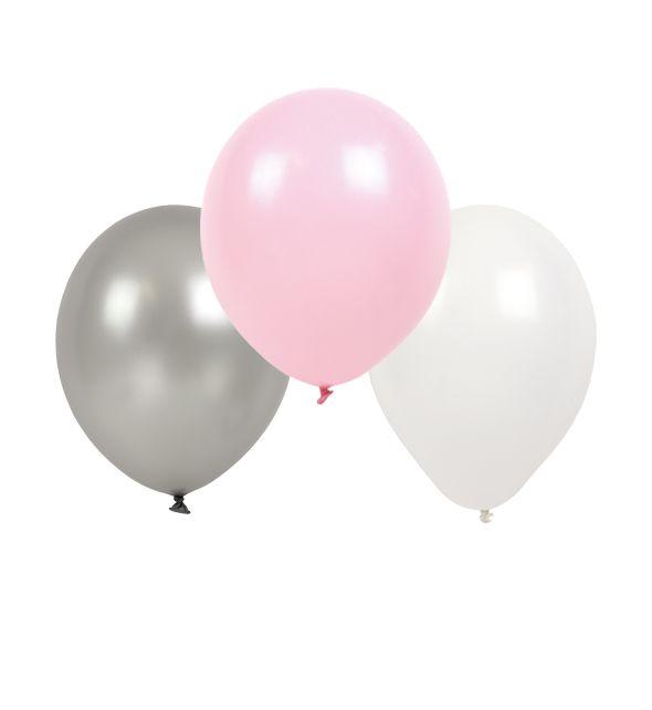 Luftballons rosa grau weiß 3er Set