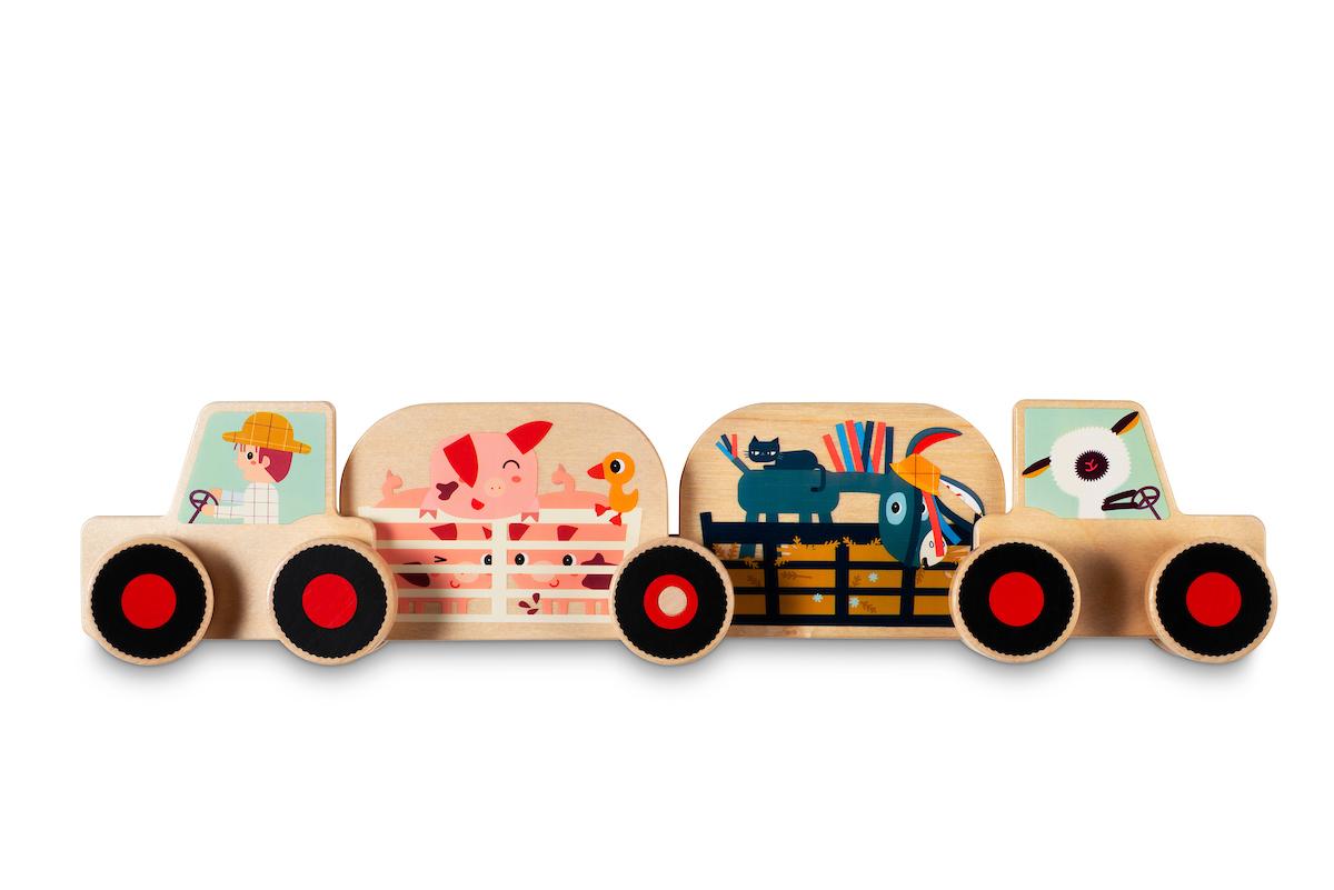 Holz Auto Bauset Traktor Tiere mit Stoffbeutel 12-teilig