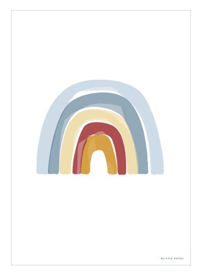 Poster A3 doppelseitig bedruckt Regenbogen Alphabet blau