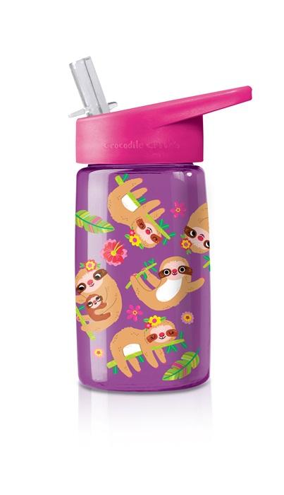 Trinkflasche aus Tritan mit Strohhalm Faultiere lila 425 ml