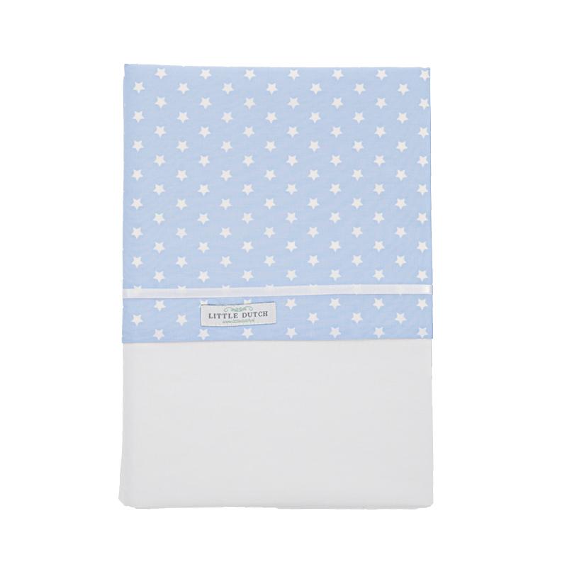 Kinderbettlaken hellblau mit weißen Sternen (110x140cm)