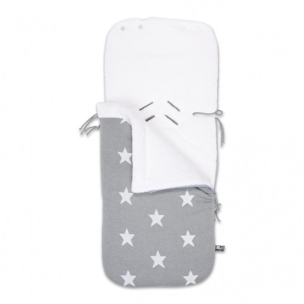 Fußsack mit Teddyfutter für Babyschale Sterne grau / weiß