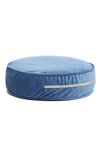 rundes Samt Sitzkissen Ottomane blau