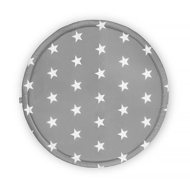 Laufgittereinlage Krabbeldecke rund Sterne grau (ø 92 cm)