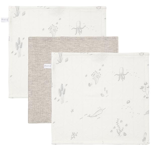 Spucktücher Mundtücher 3er Set Ocean weiß grau (Gr. 26x26 cm)