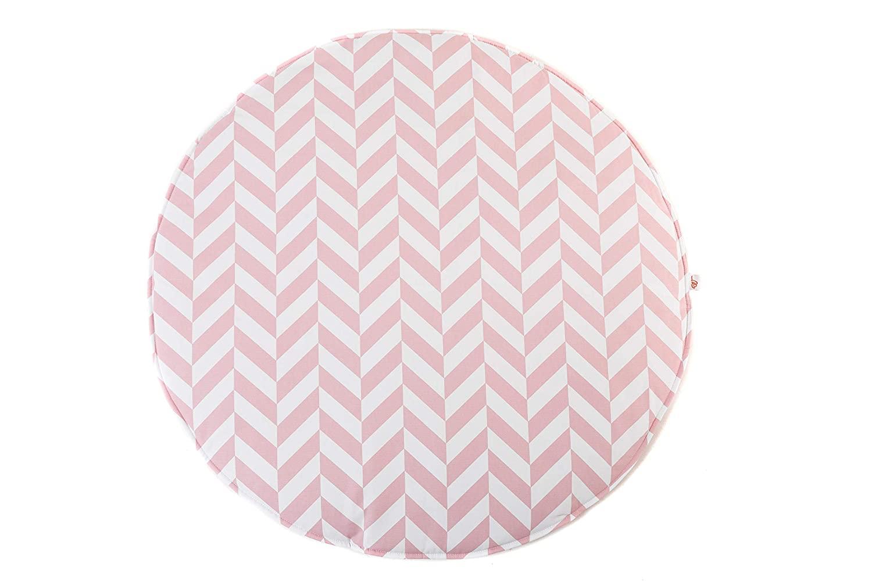 Krabbeldecke Spielmatte Zickzack rund rosa weiß ø100cm