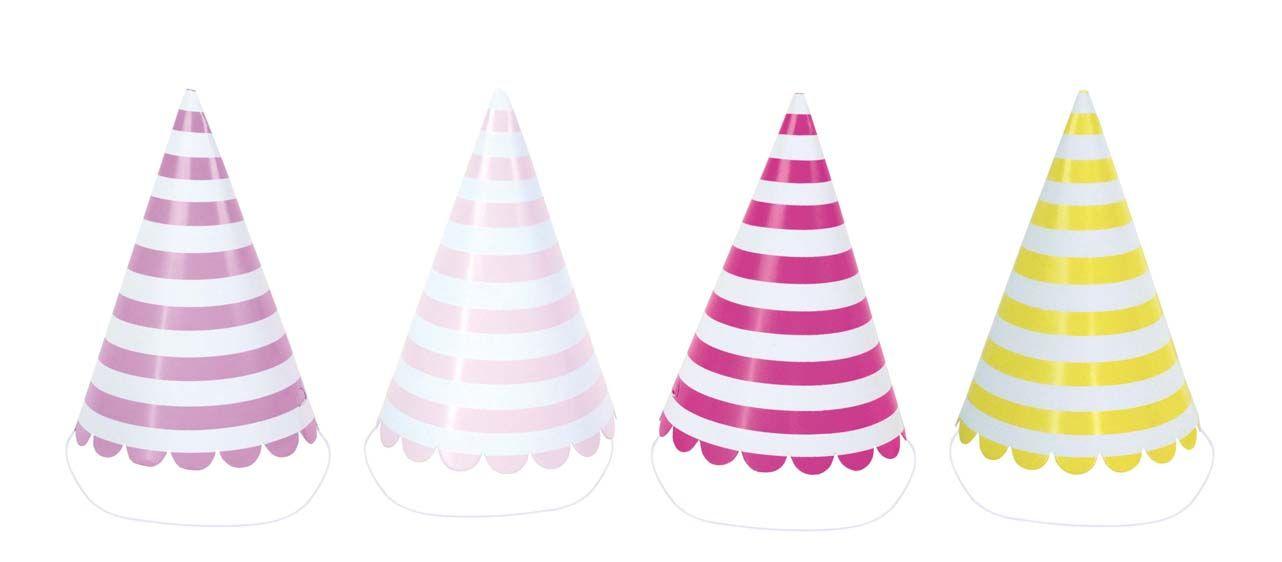 Papphüte Partyhüte mit Streifen rosa lila gelb 8er Set