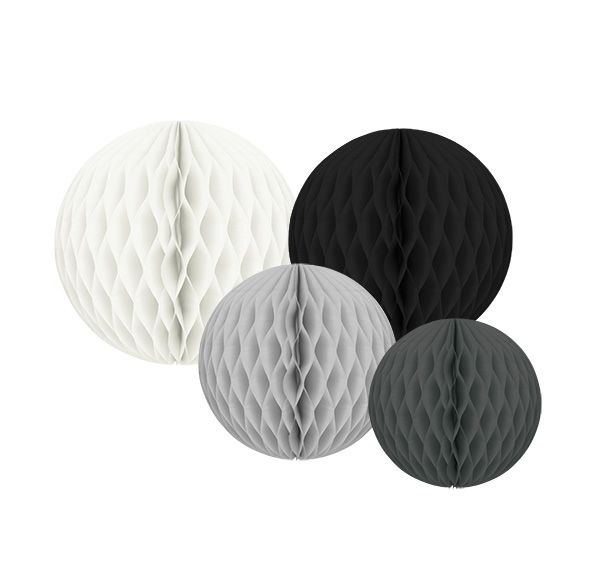 Wabenbälle Pompoms weiß grau schwarz 4er Set