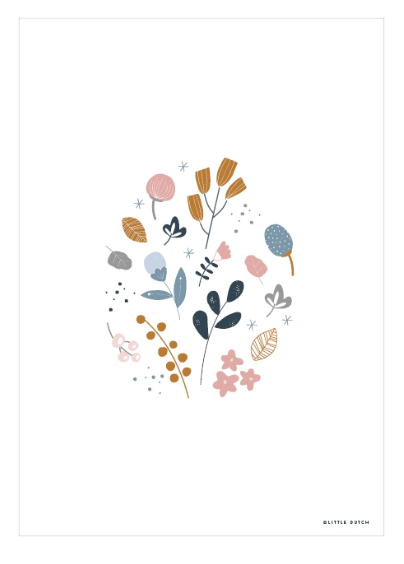 Poster A3 doppelseitig bedruckt Spring Flowers Blumen