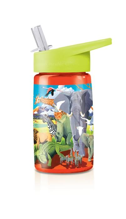 Trinkflasche aus Tritan mit Strohhalm Afrika Safari Tiere orange