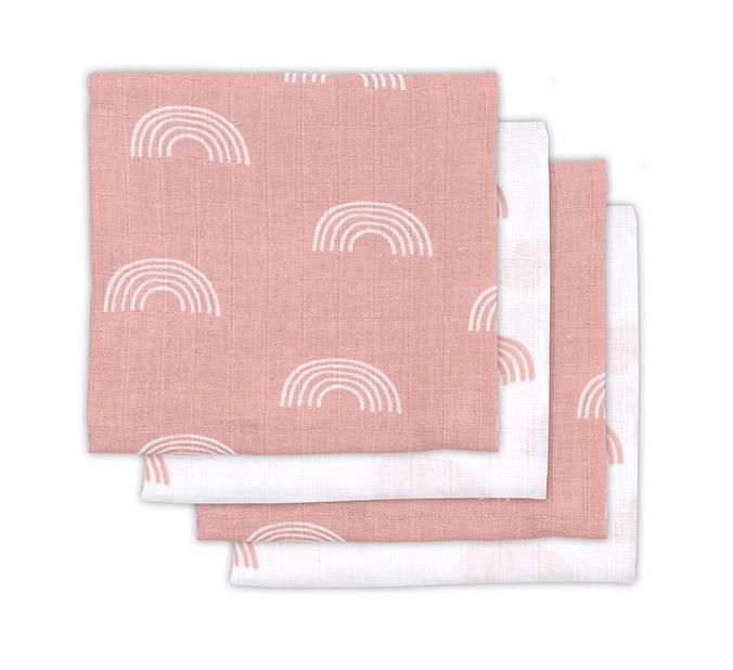 Mulltücher Regenbogen rosa 70x70 cm 4er Pack