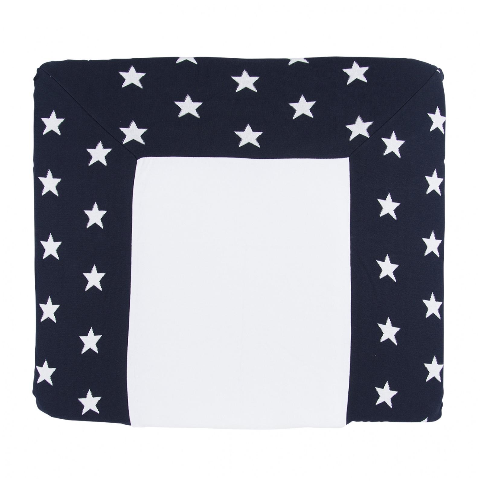Wickelauflagenbezug Sterne dunkelblau weiß (Gr. 75x85 cm)