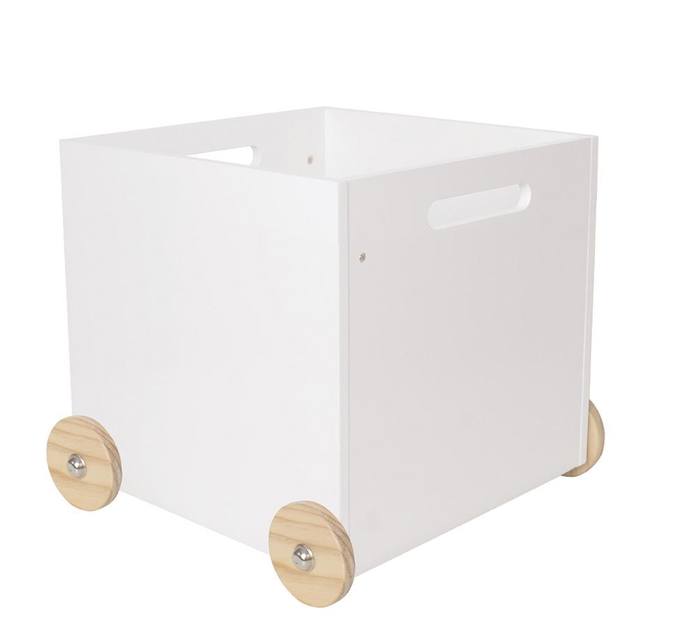 Holz Spielzeugkiste mit Rädern groß weiß