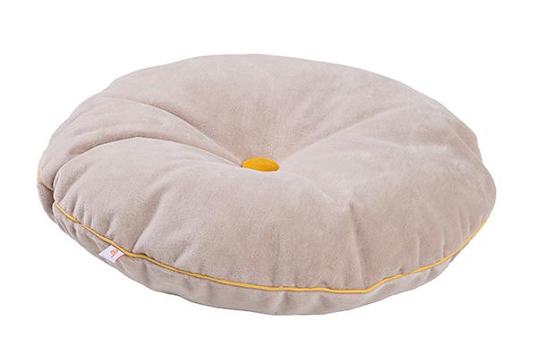 rundes Samt Kissen mit Knopf puderbeige gelb ø35 cm