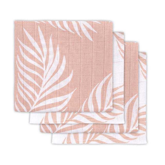 Mulltücher 4er Set Nature Blätter rosa (70x70 cm)