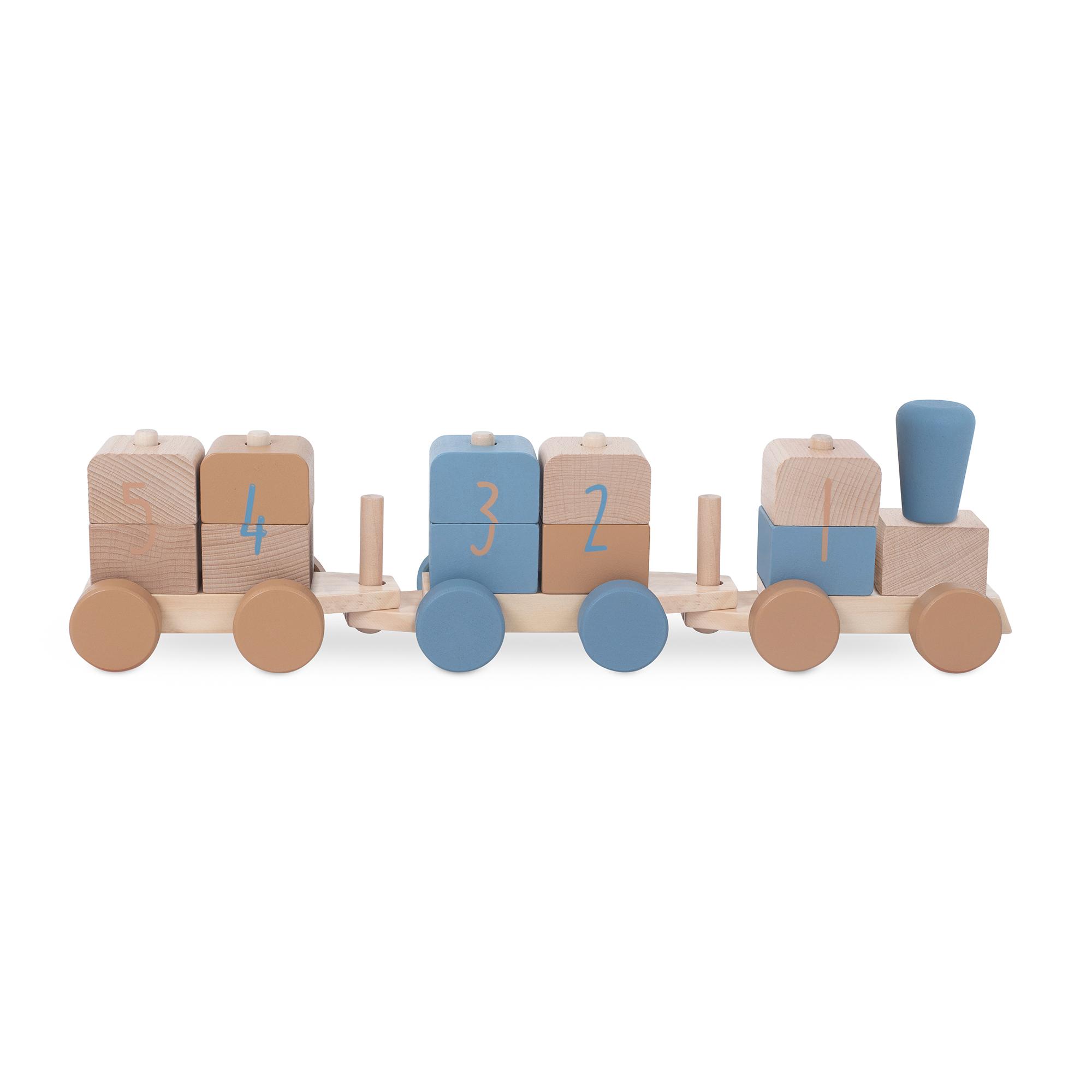 Holz Zug Eisenbahn mit Steckformen blau