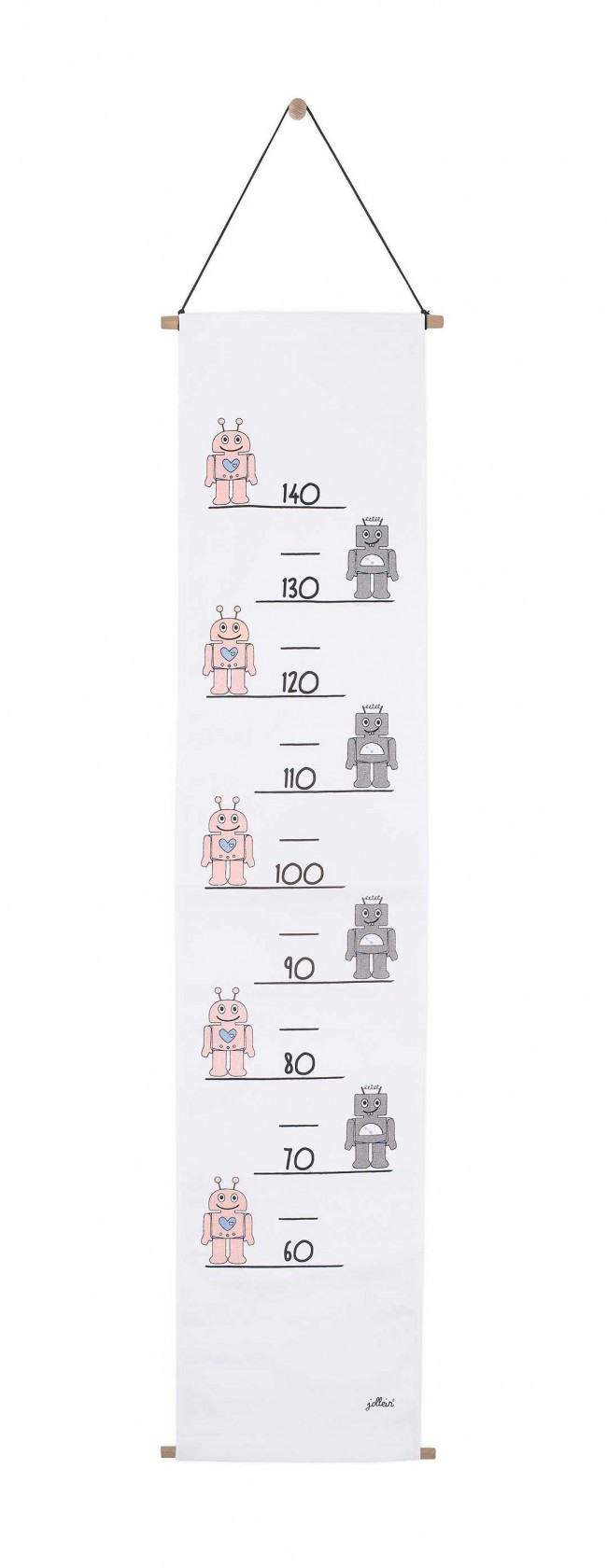 Jollein Messlatte Stoff Roboter rosa 70 - 140 cm