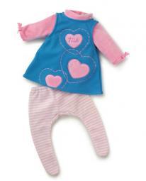Puppenkleidung Kleid Herzchen blau 30 cm