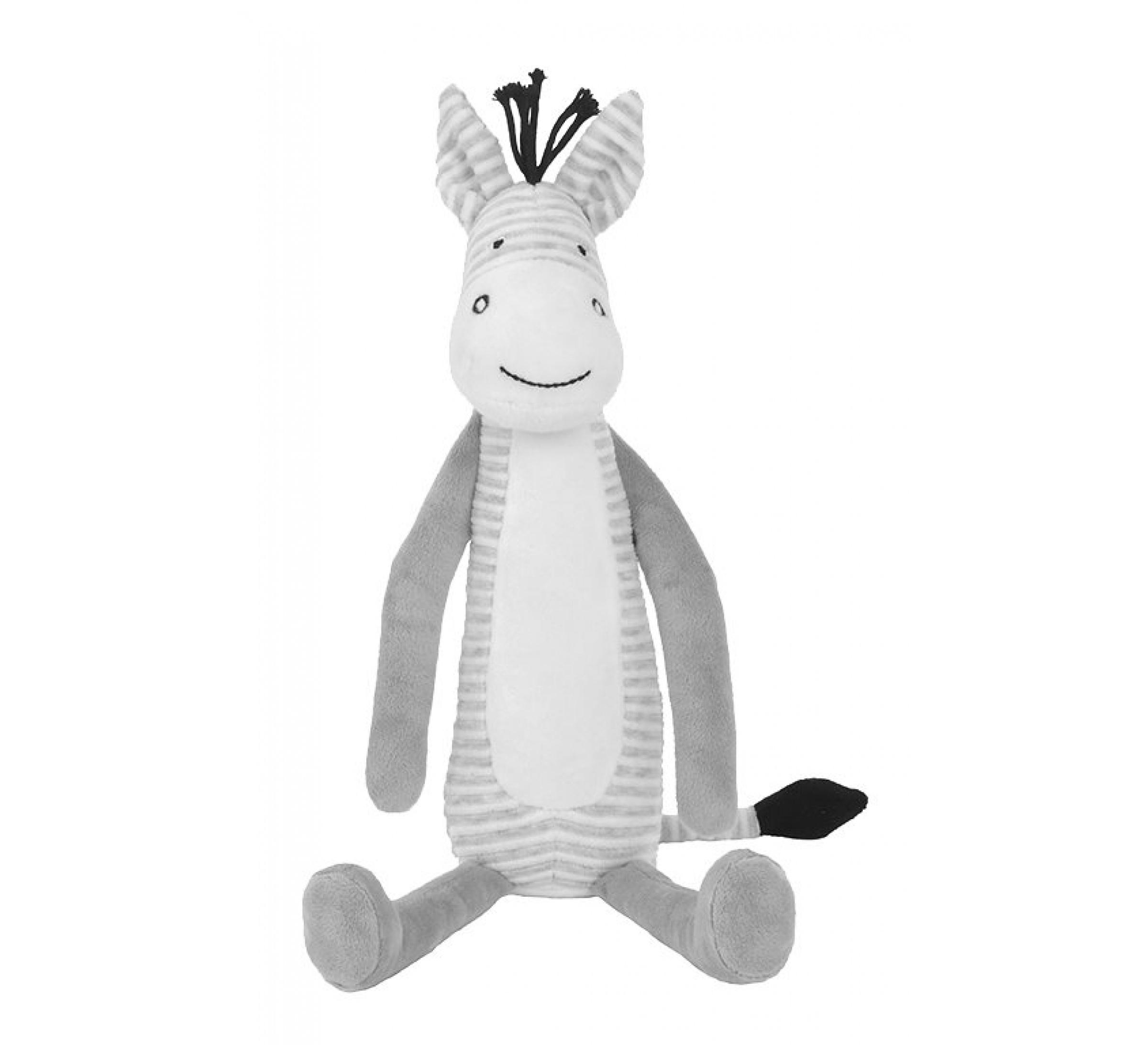 Plüsch Zebra Stofftier Kuscheltier grau 40 cm
