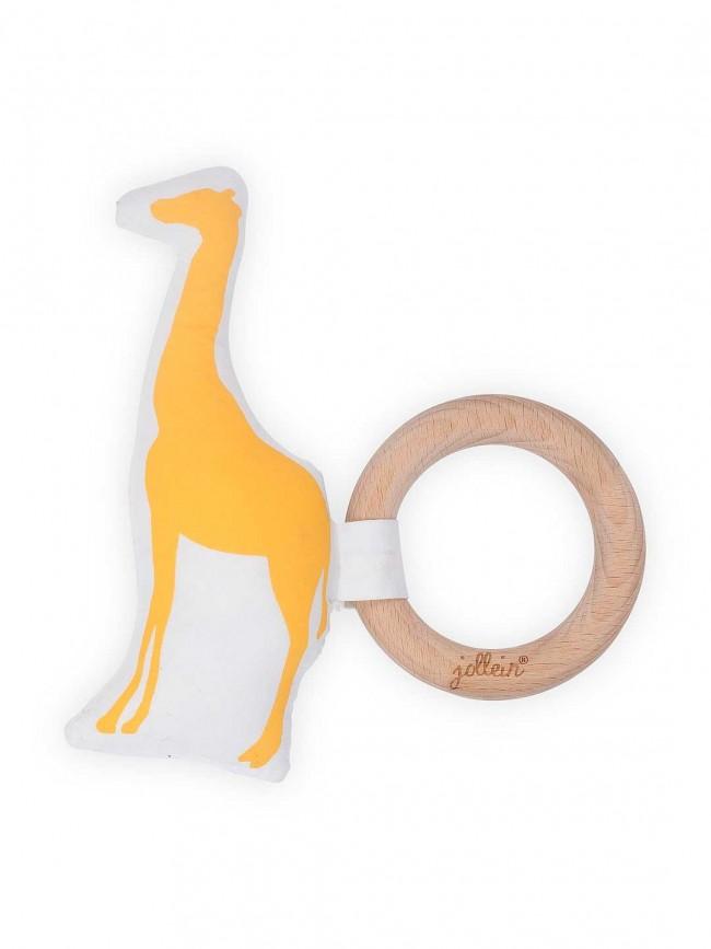 Beißring Holz Safari Giraffe ocker gelb