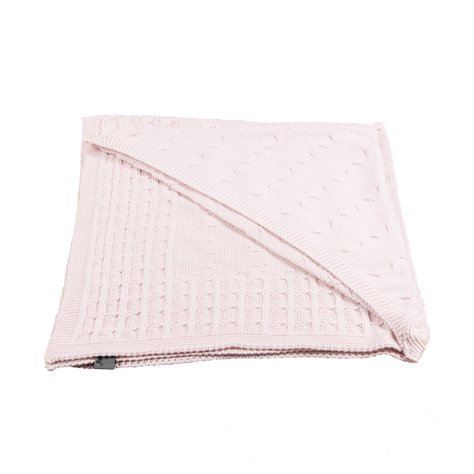 Babydecke Kapuzendecke Zopfstrick rosa (75x75 cm)