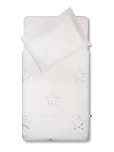 Bettwäsche Sterne silber 100x140 cm + 40x60 cm