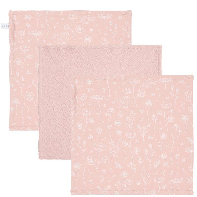 Spucktücher Mundtücher 3er Set Wild Flowers rosa (Gr. 26x26 cm)