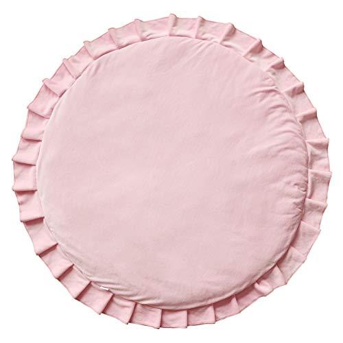 Samt Krabbeldecke Spielmatte mit Rüschen rund rosa ø110cm