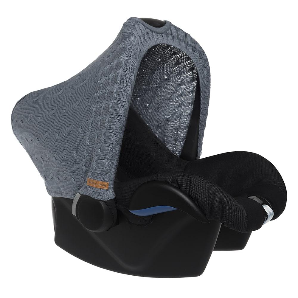 Verdeck für Babyschale Zopfstrick graublau