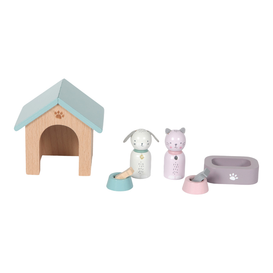 Holz Puppenhaus Zusatz Spielset Haustiere Hund und Katze 8-teilig