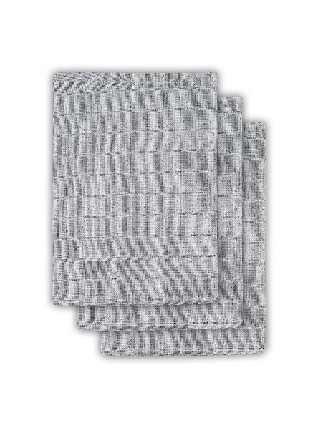 Waschlappen Mini Dots Pünktchen grau 3er Set