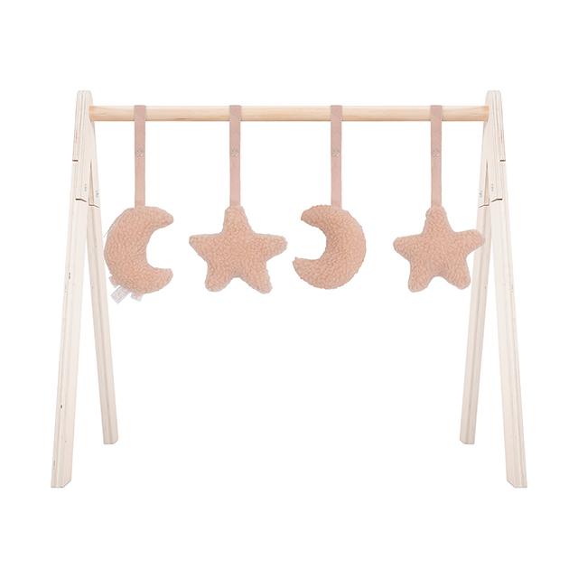 Jollein Anhänger für Spielbogen Baby Gym Mond Sterne Teddyplüsch rosa