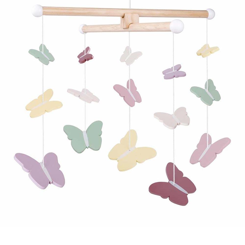 Mobile Holz Schmetterlinge pastell