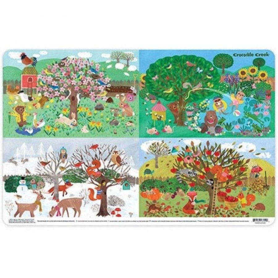 Platzset Tischset Vier Jahreszeiten mit Tieren 28 x 33,5 cm
