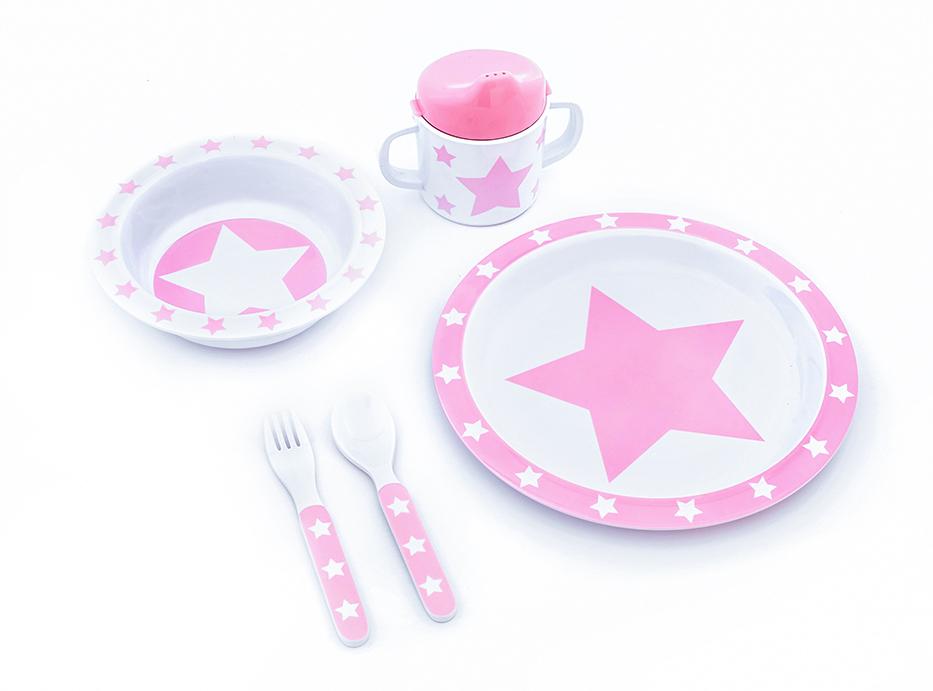 Geschirr Set Melamin STARS rosa