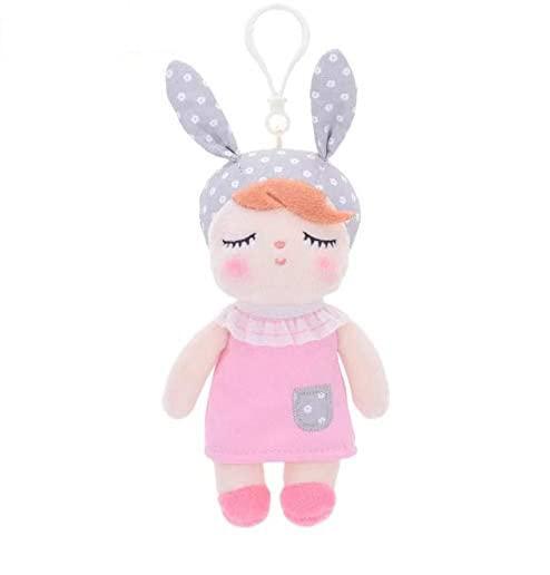 Mini Stoffpuppe Angela mit Anhänger rosa 15 cm