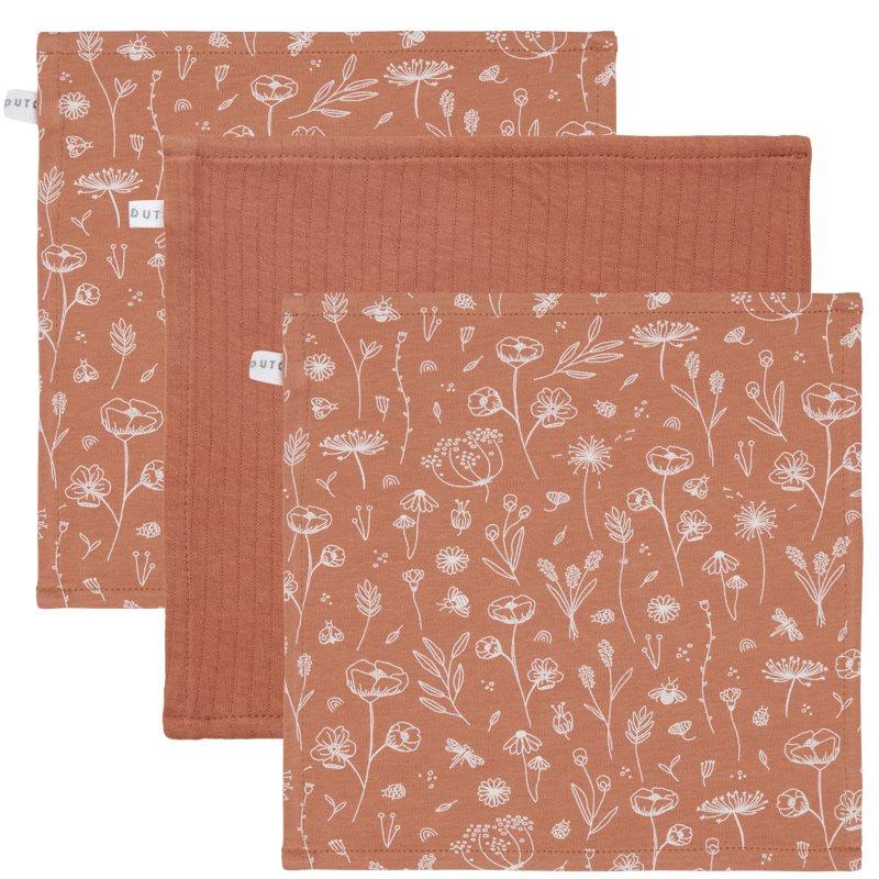 Spucktücher Mundtücher 3er Set Wild Flowers rost (Gr. 26x26 cm)