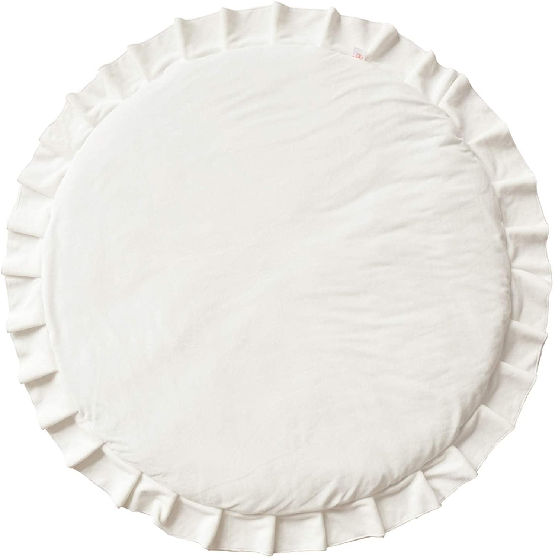 Samt Krabbeldecke Spielmatte mit Rüschen rund weiß ø110cm