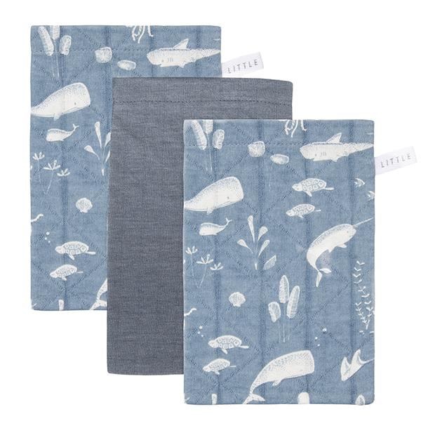 Waschlappen Ocean blau 3er Set