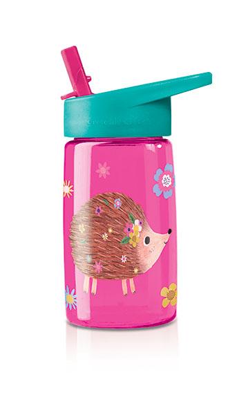 Trinkflasche aus Tritan mit Strohhalm Igel pink 425 ml